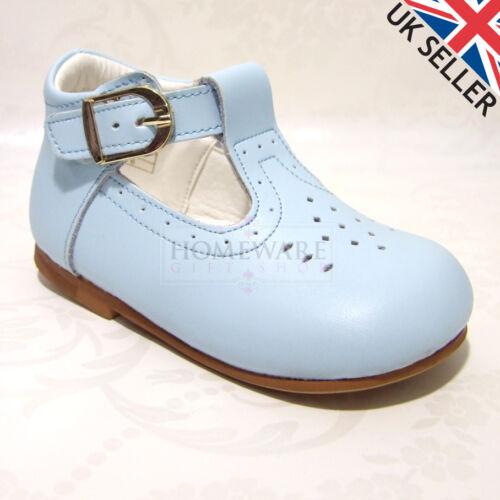 BABY BOY LEATHER spagnolo Scarpa con fibbia a T Bianco Blu Navy Cammello Blu Cielo Taglia UK2-UK9 NUOVE