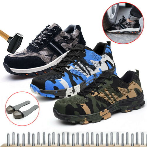 Men/'s Safety Shoes Non-Slip Steel Toe Work Boots Breathable Hiking Climbing New