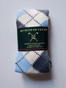 "Merino Wool Blend Golf Socks  size 6-9  woman ""Scottish Snowdrop"""