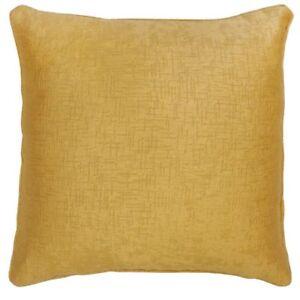 2-X-MUSTARD-GOLD-OCHRE-SOFT-WOVEN-TEXTURED-VELVET-FEEL-18-034-CUSHION-COVERS-9-95