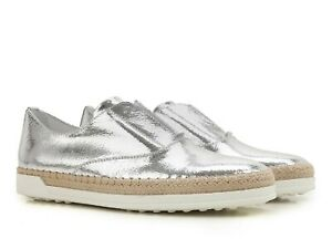 4da219c35ee Tod s women s silver metallic leather slip-ons sneakers shoes Size ...
