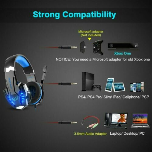 KOTION EACH PS4 Gaming Headset Xbox One Headphone 3.5mm PC Stereo Sound Earphone