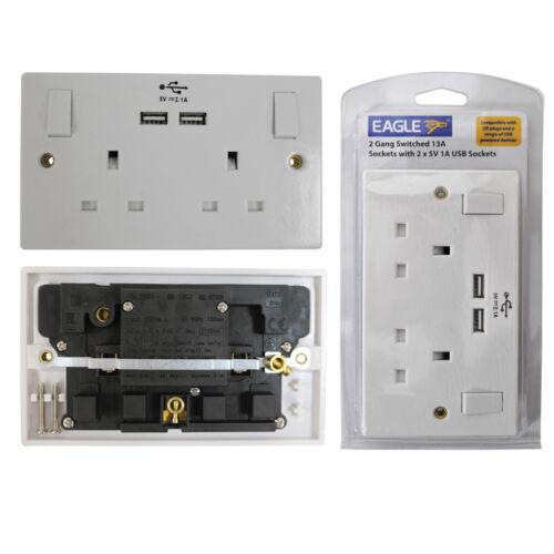 13A simple double et triple mur douilles usb sockets blank plaques /& back cases