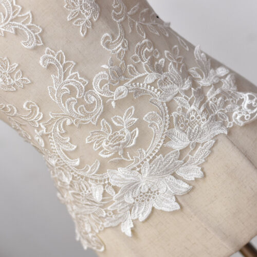Large Wedding Dress Back Wide Lace Applique Floral Embroidered Motif Trim 50CM