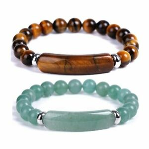 Natural Stone Tiger Eye Beads Bracelet Elasticity Bangle Women Men Jewelry Gift