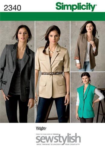 S 2340 Misses Lined /& Unlined Boyfriend Jackets Pattern