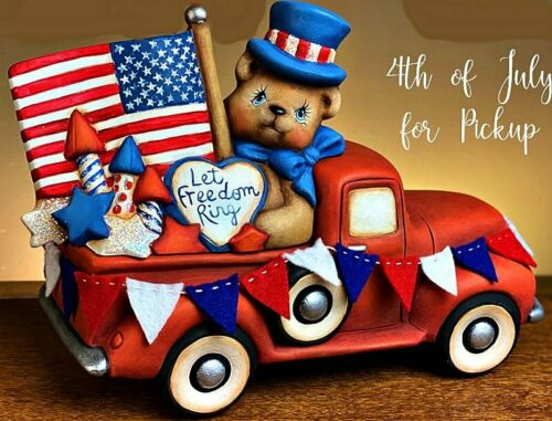 CERAMIC BISQUE OLD PICKUP TRUCK W// 4TH OF JULY-FLAG-BEAR INSERT~ READY TO PAINT