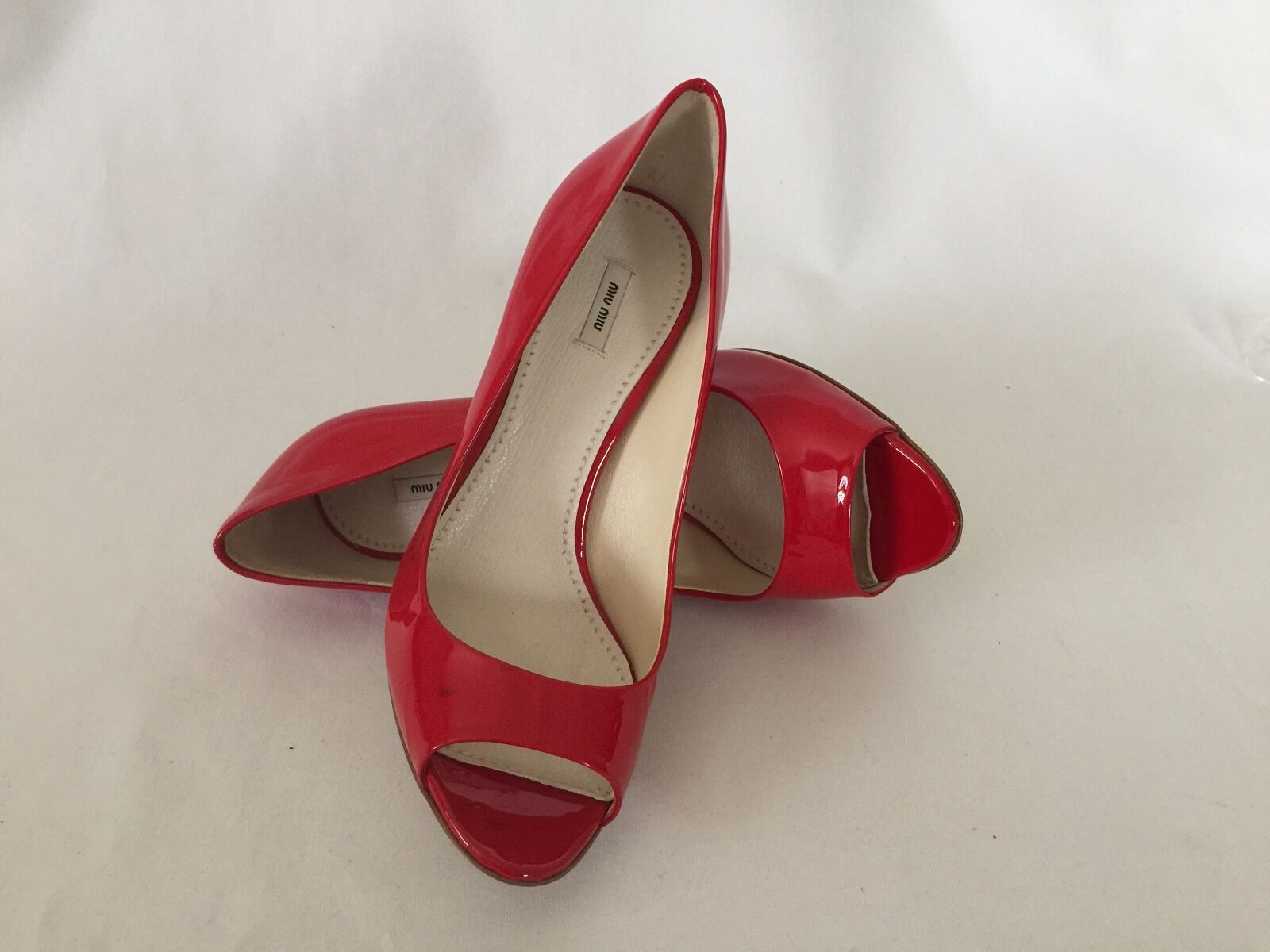 Miu Miu Red Patent Leather Peep Toe Pump Wood Heel Sz 36