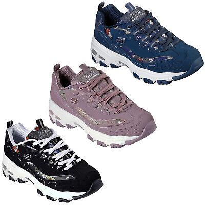 Moviente Gracias por tu ayuda Juguetón  Skechers D'Lites - Floral Days Trainers Womens Memory Foam Chunky Shoes  13082 | eBay