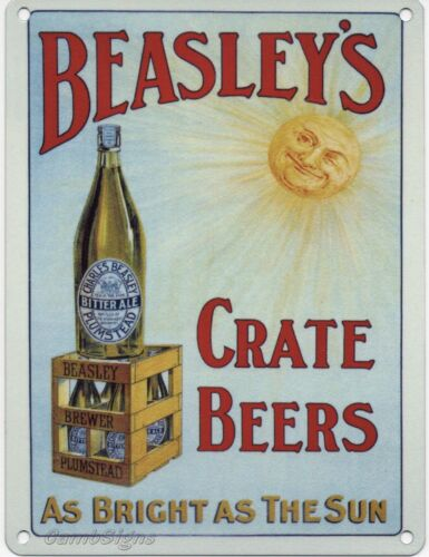 Beasley/'s Crate Beers small steel sign 200mm x 150mm og