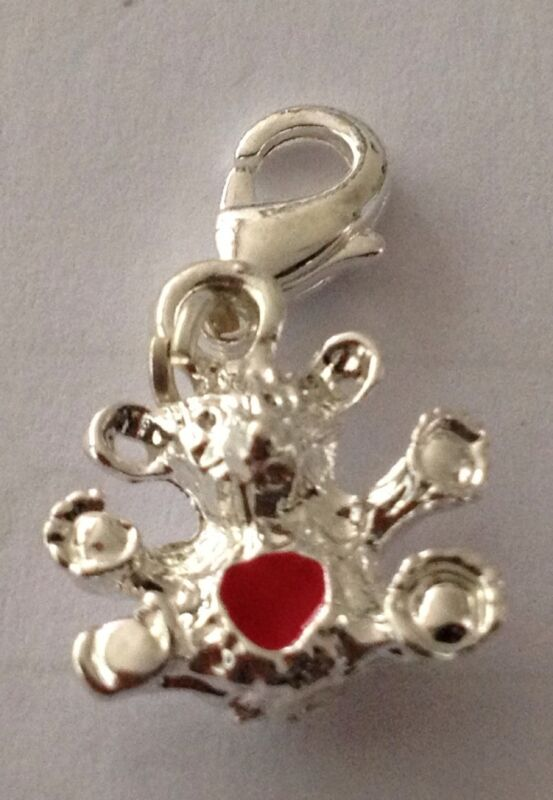 Lovely Little Silver Bear With Red Heart On It Clip On Charm -silver Plate