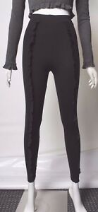 Ex River Island WOMENs Stretch Leggings Faux Pearl Embellish Pants Cropped 8-18