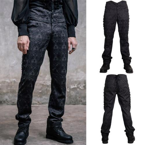 Devil Fashion PT010 Mens Elegant Gothic Victorian Brocade Black Trousers Pants