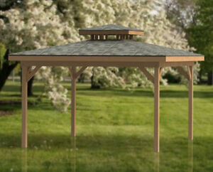16 X 16 Double Hip Roof Gazebo Building Plans Perfect For Hot Tubs Ebay