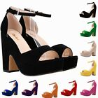 LADIES WOMENS HIGH MID HEELS PLATFORM FLATFORM ANKLE STRAP WEDGE SHOES SANDAL