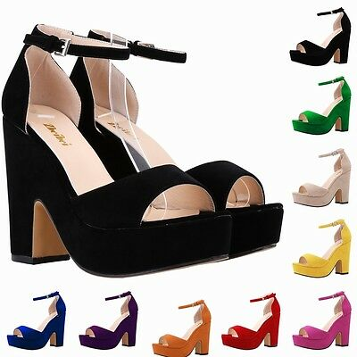 GIRLS WOMENS HIGH MID HEELS PLATFORM FLATFORM ANKLE STRAP WEDGE SHOES SANDAL