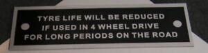 Land-Rover-Serie-1-80-86-88-107-caja-de-cambios-de-aviso-de-vida-de-neumaticos-Placa-De-Bastidor