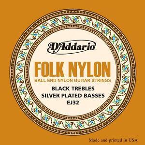D-039-Addario-EJ32-folk-Clasica-Cuerdas-de-Guitarra-Nylon-Herida-De-Plata-Ball-End