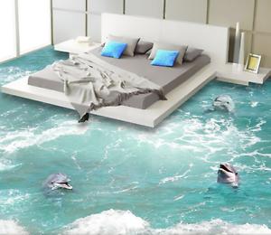 3D Play Dolphin Ocean  8 Floor WallPaper Murals Wall Print Decal AJ WALLPAPER US