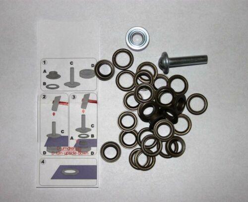 40 Ösen mit  Scheiben 5 mm alt Kupfer inkl Einschlagwerkzeug Lochwerkzeug