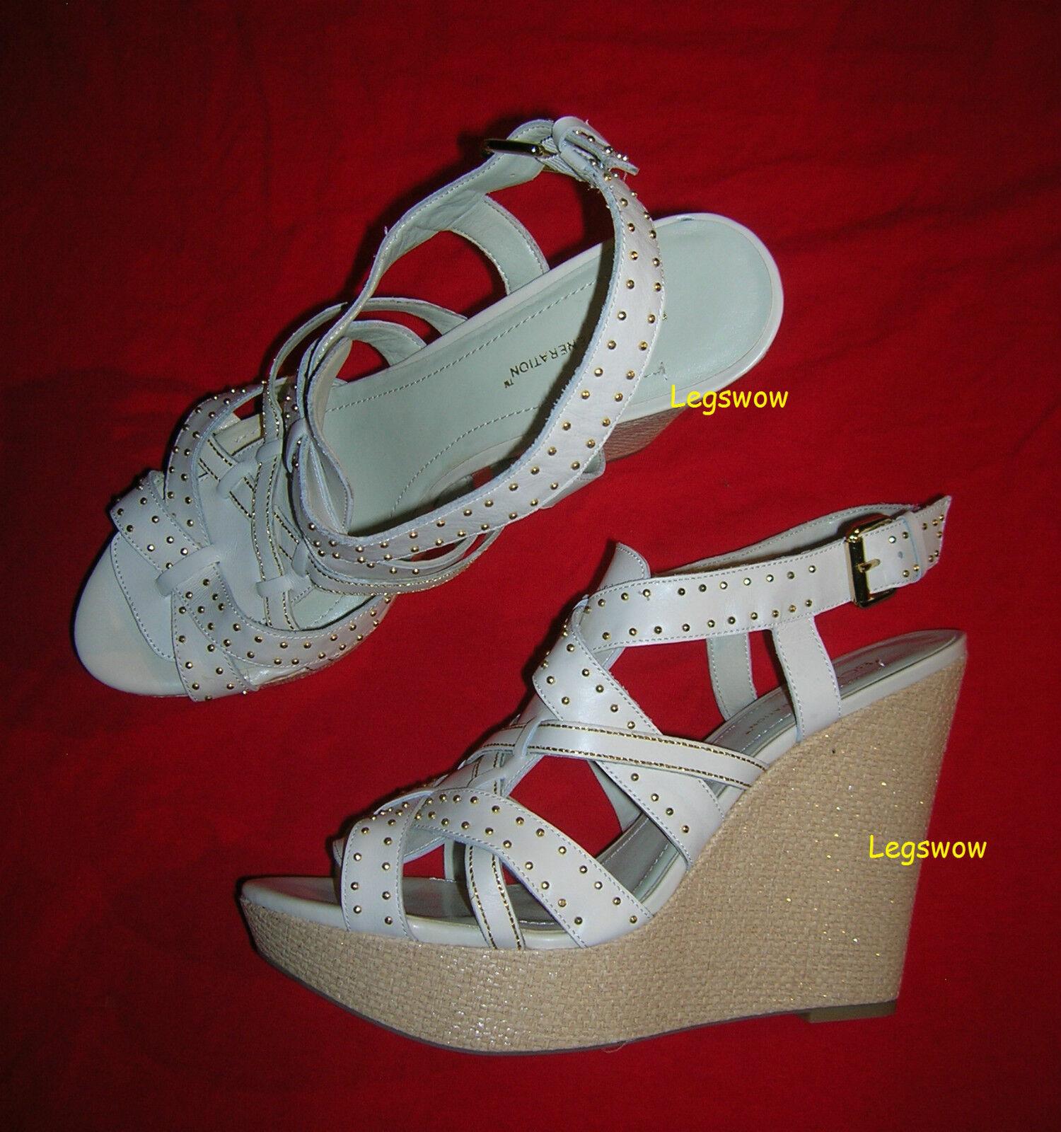 BCBG BCBGenartion 5    Wedge Heel Leather shoes Womens 10 Sandal shoes Cream Studded 85f27d