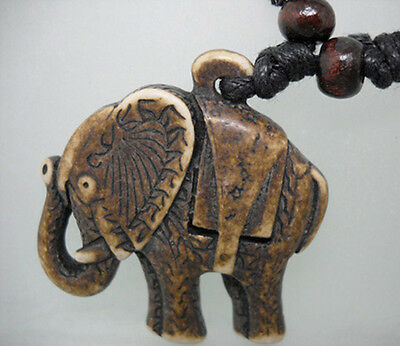H1042 elephant new wooden bead adjustable string resin pendant necklace