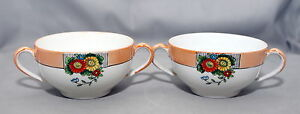 Antique-c1924-Nippon-Noritake-N4011-Orange-Lusterware-2-Handled-Cup-2pc-Set