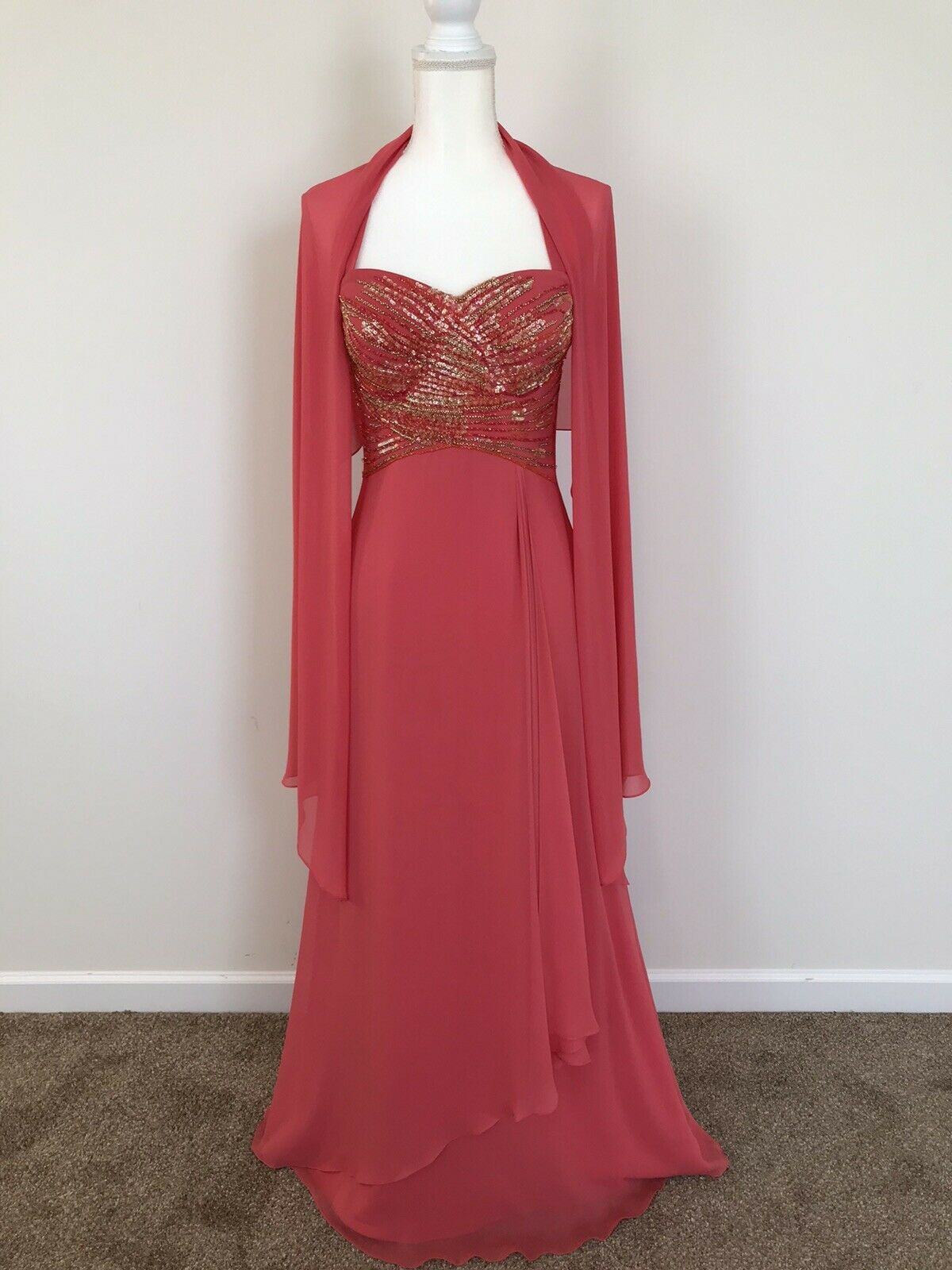 Daymor Couture Coral Silk Chiffon Strapless Beaded Gown and Shawl Size 4