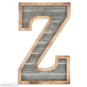 Wood & Galvanized Metal Letter Large Wood & Galvanized Metal Letter  Z Marquee Sign Wall Decor