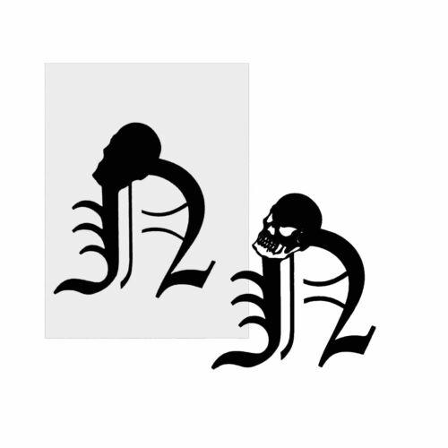 Galería de símbolos stencil template letras aerógrafo # 2033 cráneo Skull letra capital n