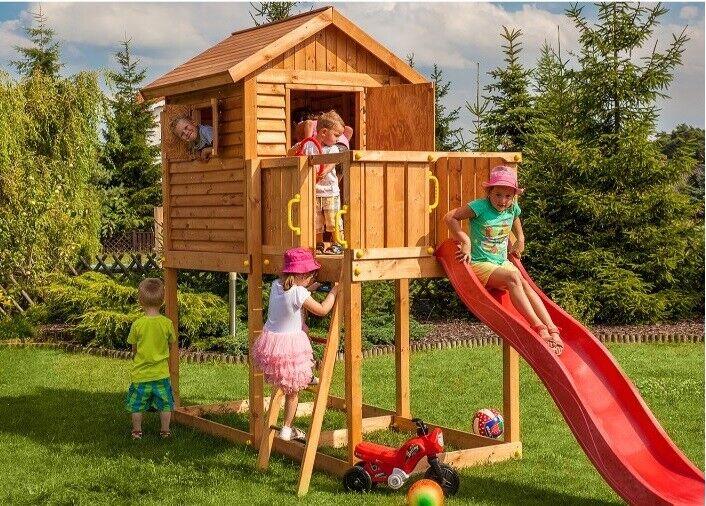 Kinderspielhaus MYHOUSE Rutsche 440 x 165 cm Spielhaus Gartenhaus Kinderhaus