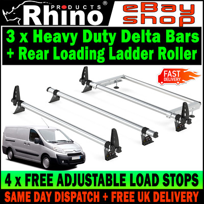 Rhino Delta 2 Bar Roof Bars Roof Rack 4x Load Stops for Toyota ProAce 2016 on