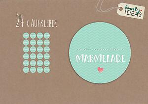24-x-Geschenkaufkleber-034-Marmelade-034-40mm-tuerkis-Etiketten-Aufkleber-Sticker