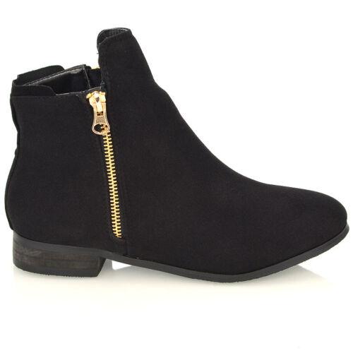 Womens Chelsea Zip Cut Buckle Low Block Heel Flat Ladies Ankle Boots Shoes 3-8