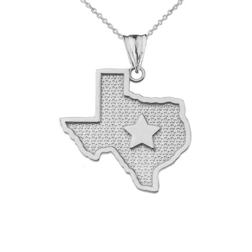Solid Gold 10k//14K Texas Lone Star Map Silhouette Pendant Necklace