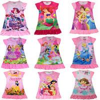 New Kids Girls Princess Nighty Dress Nightwear Party PJ Cartoon Pink 3-8 Years