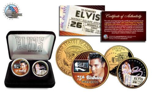 ELVIS PRESLEY 75th 24K Gold US Legal Tender NEW 2-Coin Set*Officially Licensed*