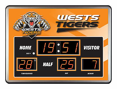 Licensed NRL WESTS TIGERS Rugby League SCOREBOARD LED Glass Clock Man Cave