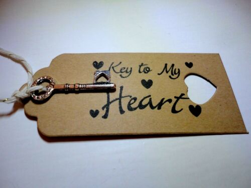 KEY TO MY HEART~PERFECT VALENTINES~KEY ATTACHED BY GOLD /& CREAM TWINE~ 3CM KEY~