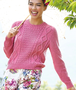 S-XXL - 0485 Ladies Cable Design Jumper Sweater Knitting Pattern