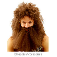 AS144 Jungle Cave Man Wig and Beard Set Brown Holloween Costume Wigs Facial Hair