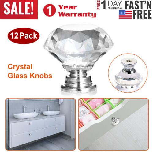 12pcs 30mm Glass Diamond Crystal Dresser Knobs Drawer Pull Handle Cabinet Door