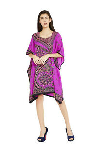 Pink-Paisley-Women-Tunic-Kaftan-Long-Sleeve-Casual-Mini-Boho-Dress