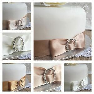 when to cut wedding cake at the reception satin bow amp diamante buckle ribbon cake decoration 27126