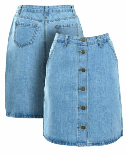 Womens Stonewash Denim Skirt Button through Straight skirts Size 8 10 12 14 Blue