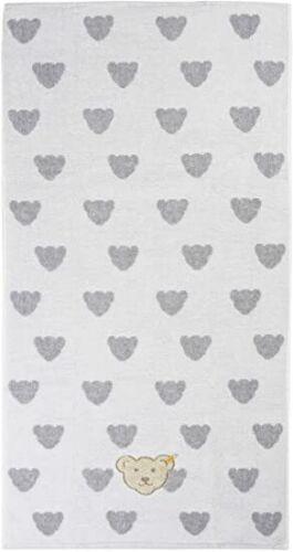 50 x 100 cm Frottee weiß grau mit Bärenapplikation neu Steiff Handtuch  Gr