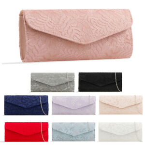 Ladies-Lace-Envelope-Clutch-Bag-Floral-Evening-Bag-Lacey-Bridal-Handbag-KL2527