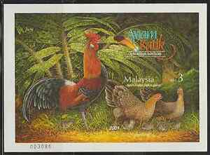 276Mi-MALAYSIA-2001-MALAYSIA-BANTAMS-IMPERFORATED-MS-FRESH-MNH