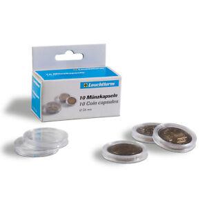10-Capsules-rondes-int-26-mm-pour-les-pieces-de-2-euros-boite-de-10-Ref-309404