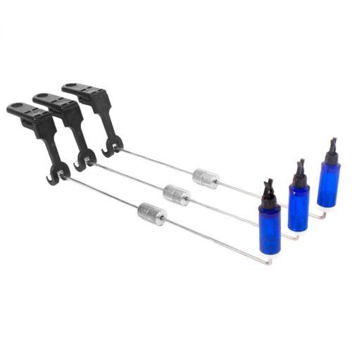 3er Set Swinging Carp Arm Blue Indicator 3-Rod Pendel Bissanzeiger im Hardcase